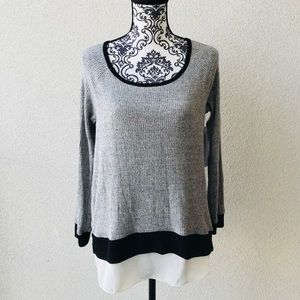 😍NWT Lord&taylor Made in 🇺🇸 top gray white M